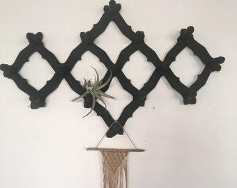 Vintage accordéon mural, portemanteau extensible bois, porte-gobelet de mur noir mat
