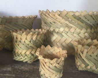 Vintage Baskets Collection of 10 Vintage Sweet Grass Baskets, Plant Baskets, Catchall Baskets,  Boho home decor
