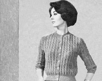 bb4109f3c6f9e9 Vintage Ladies Cable Rib Cardigan