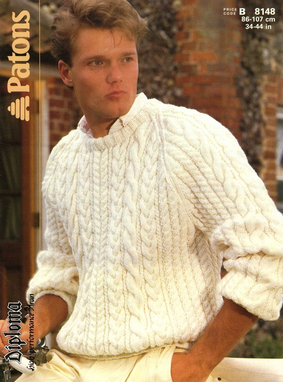Vintage Men\'s Cable Sweater Knitting Pattern1960 PDF | Etsy