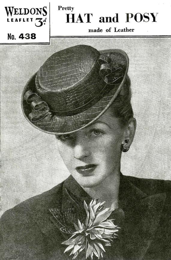 Vintage Damen Hut und Posy gemacht In Leder, Nähen Muster, 1940/1950 (PDF) Muster, Weldons 438