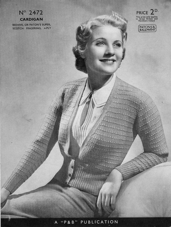 Rebeca vintage tejer patrón patrón de 1940/1950 PDF P & B | Etsy