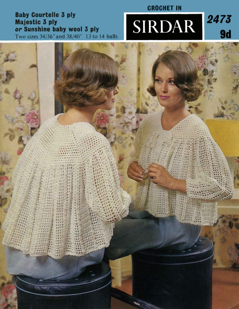 Vintage Ladies Bedjacket Crochet Pattern 1960 PDF Pattern image 0