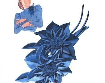 Vintage Felt Flower, Sewing / Craft Pattern for Felt Flowers, 1940 (PDF) Pattern Felt Flowers 1