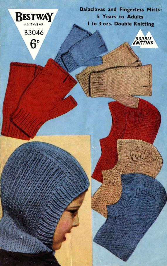 Jahrgang Sturmhauben Helm und Fingerlose Handschuhe stricken   Etsy