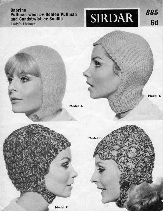 Cascos Vintage Ladies en 4 estilos que hacen punto al patrón | Etsy