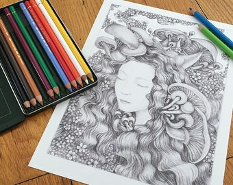 Enchanted Dreams Printable Coloring Page Grayscale Instant Download Mushrooms Pdf Surreal