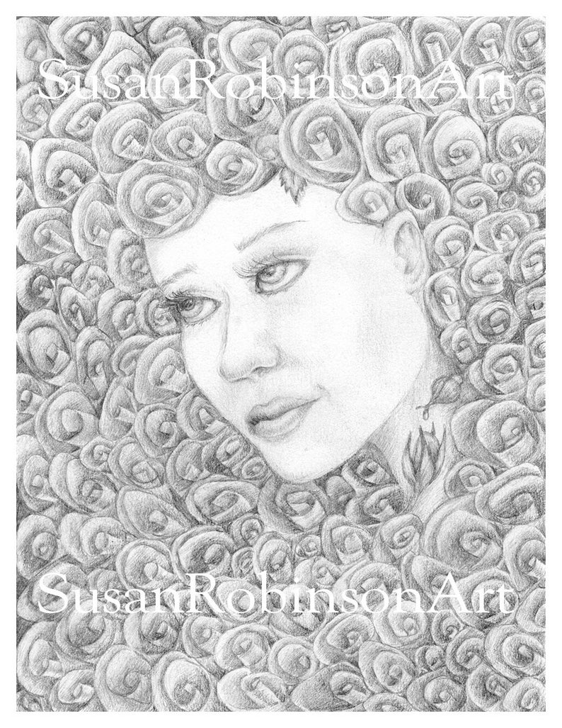 photograph relating to Printable Grayscale called Roses - Printable Coloring Website page, Grayscale coloring, Lady, Immediate down load, Electronic Down load, printable pdf