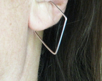 Diamond shaped hoop non-pierced earrings sterling silver slip on hoop earrings