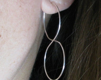 Sterling Silver Double Hoop Infinity Earrings Long Elegant Double Circles