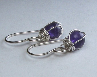 Amethyst Earrings Sterling Silver Wire Wrapped Bridesmaid Gift Wedding
