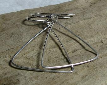 Sterling silver earrings, triangle shaped, geometric dangle, fun funky jewelry