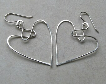 Sterling silver celtic jewelry, angel earrings, wire knot heart
