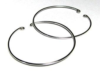 Nonpierced hoop earrings sterling silver wire unpierced slip on 2 inches