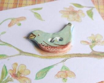 Porcelain Ceramic Bluebird Button