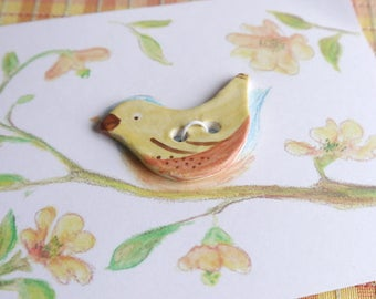 Porcelain Ceramic Button, Yellow Bird with Red and Brown