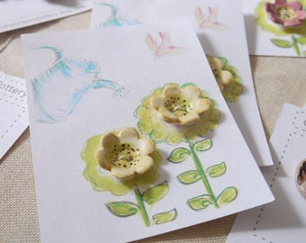 2 Handmade Flower Buttons, Yellow with Brown Detail, Porcelain Clay