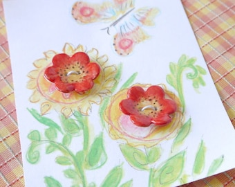 Set of 2 Flower Buttons in Porcelain Ceramic Clay, Red and Yellow
