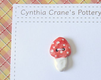 Red and White Mushroom Button, Porcelain Ceramic Clay