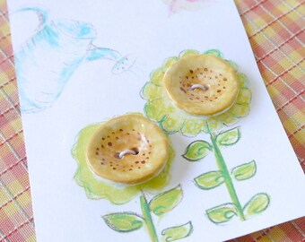 Large Hollyhock Buttons, Ceramic Porcelain Clay, Yellow with Brown Highlights