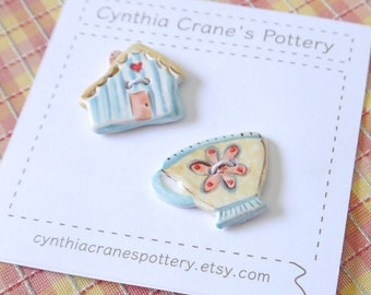Set of 2 Ceramic Porcelain Buttons, Miniature Tea Cup and Cottage, Glazed in Blue Yellow and Pink