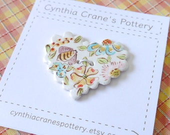 Ceramic Heart Button with Scalloped Edge Detail, English Chintz Style Painted Flowers and Bumble Bee