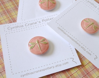 Single Large Shank Style Dragonfly Button, Lime Green and Honeysuckle Pink