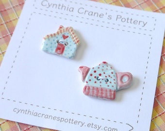 Set of 2 Ceramic Porcelain Buttons, Miniature Teapot and Cottage, Glazed in Blue and Red