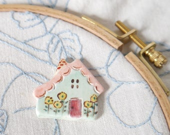 Needleminder, Blue Ceramic English Cottage with Pink Roof, Red Door and Yellow Flowers, Gift for Quilter