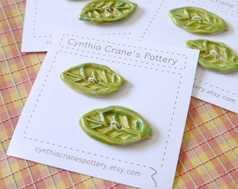 Set of 2 Porcelain Clay Buttons, Leaf Shapes Glazed in Grass Green