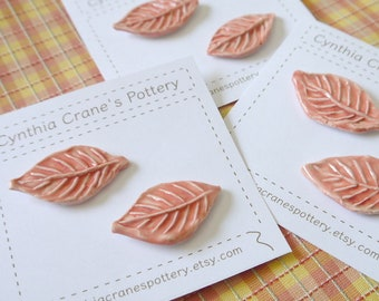 Set of 2 Porcelain Clay Shank Style Buttons, Handmade Leaf with Hand Stamped Detail, Glazed in Honeysuckle Pink