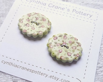 Set of 2 Ceramic Buttons, Oval Scalloped Edge, Hand Painted Cottage Style Painted Pink and Lime Green Calico Flowers, Pastel Blue and Red