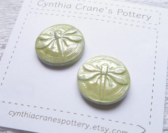 Set of 2 Round Porcelain Clay Shank Style Buttons, Lime Green with Dragonfly Detail, Pearlescent Luster Glaze