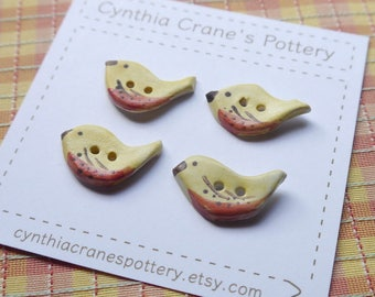 CUSTOM ORDER for Laura, Set of 4 Tiny Yellow Bird Clay Buttons
