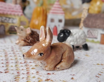Tiny Ceramic Bunny Rabbit, Handmade Porcelain Figurine