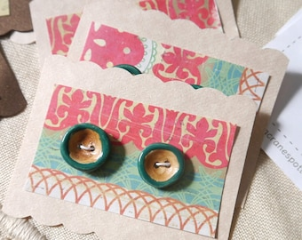 Teal Green and Brown Buttons, Set of 2 Small Round in Ceramic Porcelain Clay