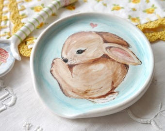 Ceramic Spoon Rest, Painted Brown Bunny Rabbit on Turquoise Background, Wheel Thrown White Stoneware Clay