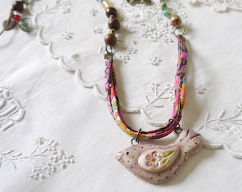 Bohemian Style Necklace, Ceramic Bird Pendant, Liberty of London Ribbon, Assorted Fresh Water Pearl and Glass Beads