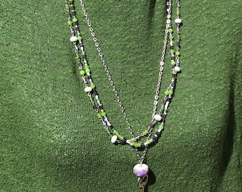 Unique Boho Jewelry Set, Festival Jewelry, Skeleton Key Necklace, Triple Necklace, Gift for Her, Purple Green White, OOAK Beaded Necklaces
