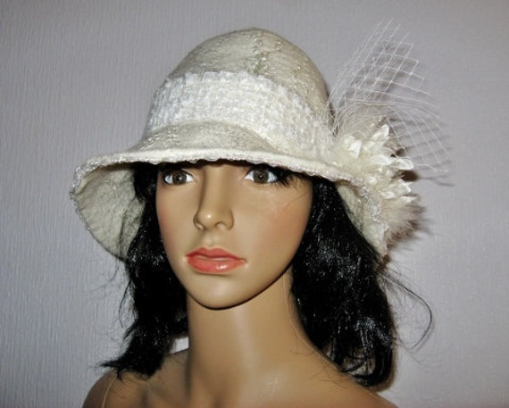 Womens Felted Cloche Hat White Felt Winter Hat One Of Kind -7464