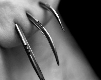 TRIS: Scythe statement earrings, set of 3, sterling silver - Joanna Szkiela x Ovate collab