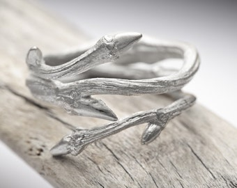Elvish Twine sterling silver twig ring - stacking ring - RedSofa jewelry