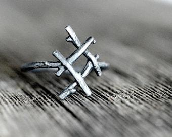 INGUZ Rune Ring, sterling silver twigs - True Love, Harmony, Fertility
