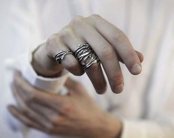 Elvish Twine - stacking ring, dark silver twig ring - RedSofa jewelry
