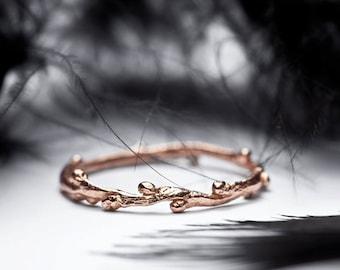 wedding band in 14k rose gold - slim stacking ring - twig branch wedding ring