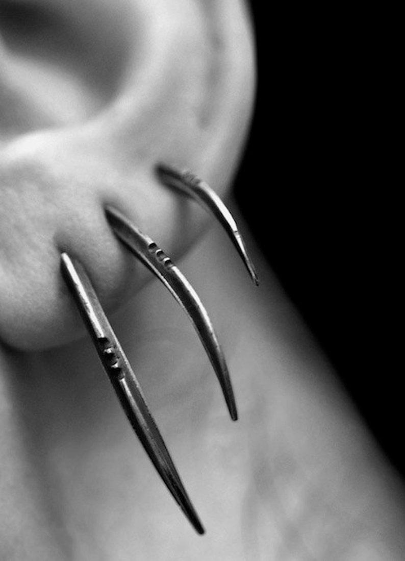 TRIS: Scythe statement earrings set of 3 sterling silver  image 0