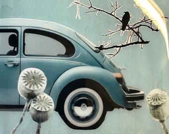 original resin painting- 8x8 inch  Blue Bug