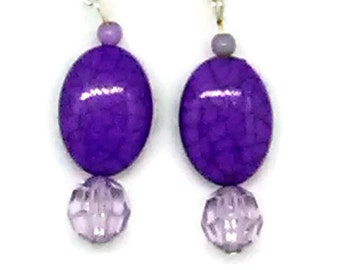 Marbled Purple Flat Oval with Clear Faceted Purple Round Beaded Earrings