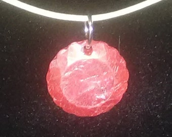 Red Flat Faceted Round Pendant Necklace