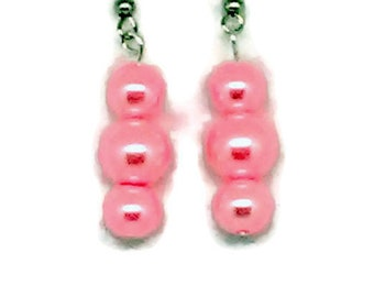 Pink Triple Glass Pearl Beaded Earrings